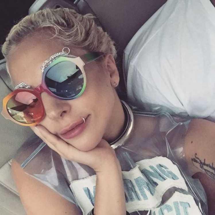 Lady Gaga preferă să poarte cercel în buze.