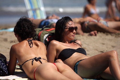 la soare pe plaja